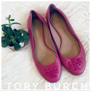 TORY BURCH soft leather flats in pink